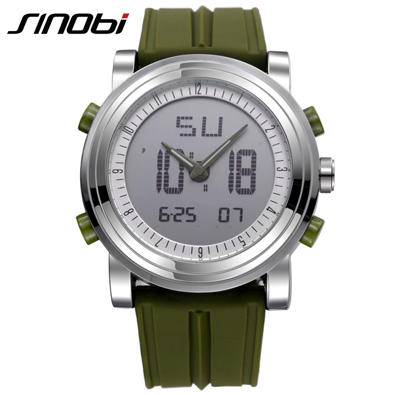 SINOBI Cool Clock Watches for Men Women Sport Style Unique Quartz Watch Man Movement Double Wristwatch Military Diving Watchband men quartz watches new fashion sport oulm japan double movement square dial compass function military cool stylish watch relojio
