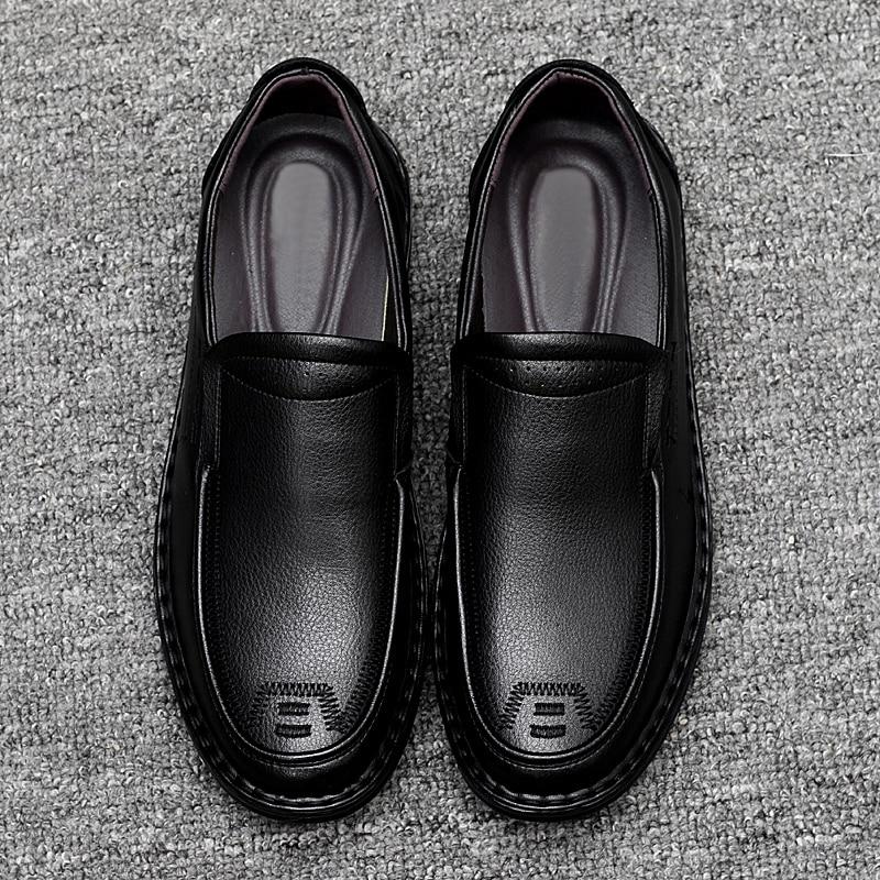 Brun Confortable Décontracté Sans Ceinture Cuir Noir En Chaussures Bureau 2018 brown Épaisse Black Semelle Hommes Classique Lacets xwPqIRUBfU
