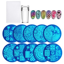цена на 10Pcs Nail Plates + Clear Jelly Silicone Nail Art Stamper Scraper with Cap  Stamping Template Image Plates Nail Stamp Plate Tool