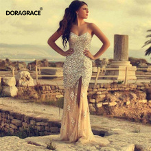 robe de soiree Classic Crystal Prom Dresses Sexy Front Split Spaghetti Straps Evening DGE035