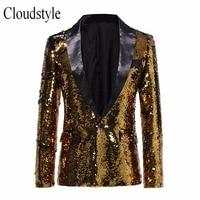 Cloudstyle 2018 Male Gold Sequins Suit Jacket Men New Arrival Hip Hop Style Party Blazer Single Button Blazer Men Plus Size 5XL