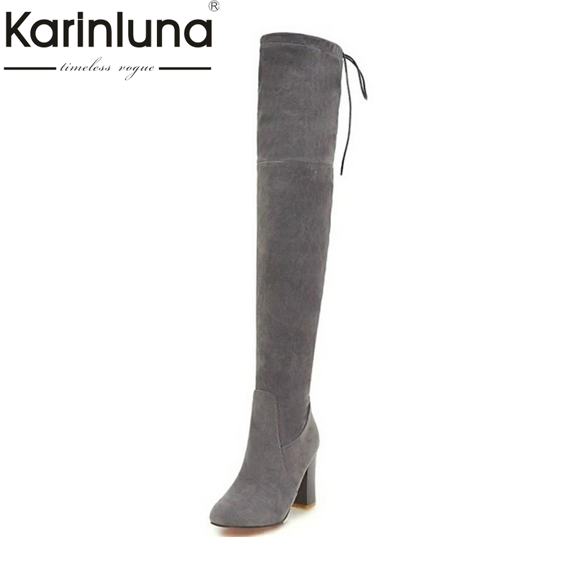 Big Size 34-43 Sexy Thigh High Boots For Women Velvet Winter Shoes Lace Up Over The Knee Boots Woman High Thick Heel bonjomarisa big size women high heel boots over the knee thigh high boots sexy lady fashion winter shoes knight boots xb345