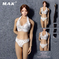 1 6 Scale White Female Sexy Lingerie Suits Girl Lace Underwear Clothing Doll Model Toys F