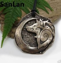 1pcs Large Tribal Wolf Necklace Crescent Moon Pendant Bronze Big Wolf Pendant Moon Necklace with Tribal Wolf SanLan
