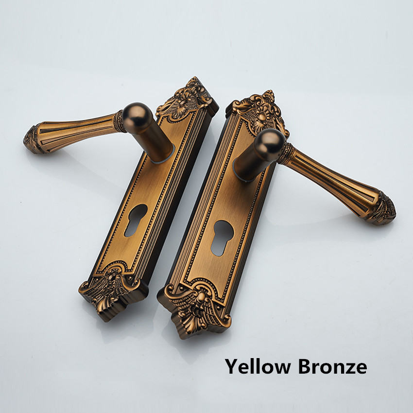 Fashion deluxe gold Double-sided handle lock yellow bronze bedroom kitchen bookroom wooden door lock  vintage Mute the door lock