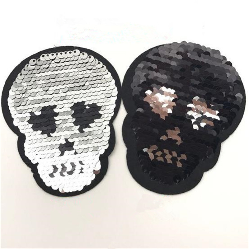 Women 95mm skull iron on patches for clothing funny t shirts reversible sequins patch deal with it clothes for girls stickers
