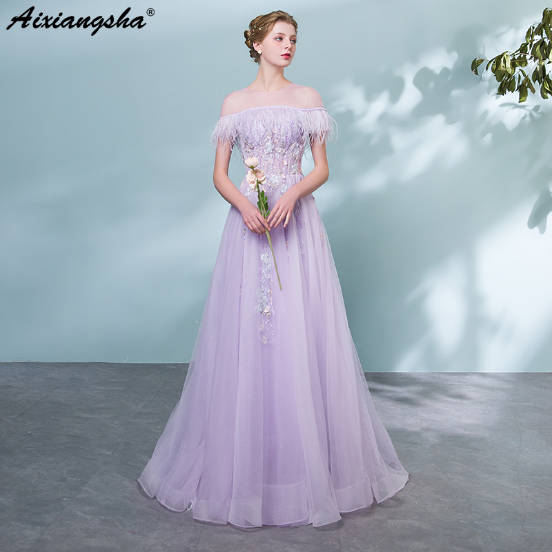 Purple Long   Prom     Dresses   2018 Scoop Pearls Applique   Prom     Dress   Elegant Vestido De Festa Longo Gala Jurken Robe Mariage Plus Size