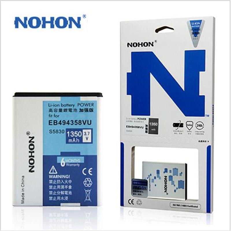 100% Оригинальные nohon Высокое качество 1350 мАч Батарея для Samsung S5830 I579 S5670 Galaxy Gio <font><b>S5660</b></font> i569 EB494358VU + номер отслеживания