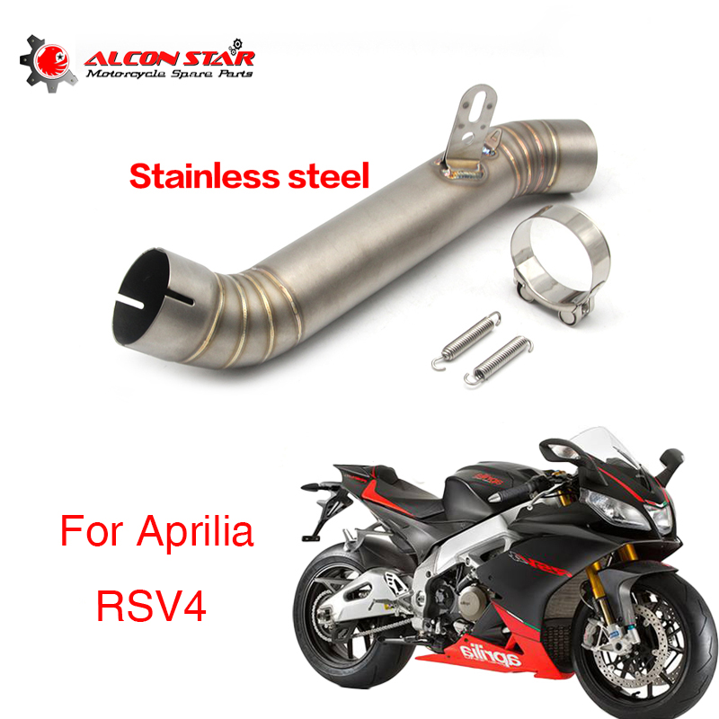 Alconstar Motorcycle Exhaust Contact middle Link pipe Full System slip on For Aprilia RSV4 Street Bike