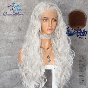 Image 3 - BeautyTown Silvery White 13x6 Big Free Part Futura Heat Resistant No Tangle Hair Daily Makeup Layer Synthetic Lace Front Wig