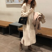 Ins Women Pullover Dress Maxi Wool Warm Winter Long Dress Long Sleeve O Neck Solid Color Female Loose Dresses Plus Thick