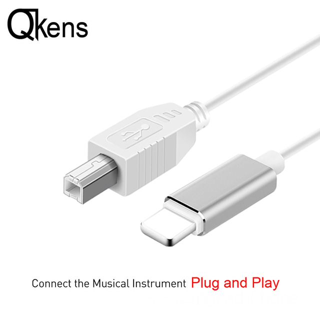 reputable site 81d8a dfb46 US $9.09 9% OFF|OTG Cable for IPhone To MIDI USB Type B Instrument Keyboard  Adapter for IPhone X XS MAX XR 8 7 6 Electric Piano Audio Connector-in ...