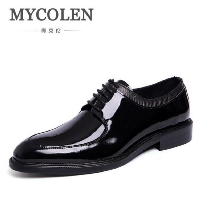 MYCOLEN Brand Genuine Patent Leather Shoes Men Pointed Toe Oxfords Business Office Dress Shoes Scarpe Classiche Uomo Punta pjcmg spring autumn men s genuine leather pointed toe slip on flats dress oxfords business office wedding for men flats shoes
