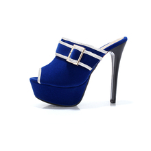 ARMOIRE New Sale Sexy Women Platform Slides Sandals Blue Black Red Ladies Shoes Super High Heels AWY6307-1 Plus Big Size 34 43