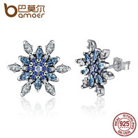 BAMOER 2016 New 925 Sterling Silver Crystalized Snowflake Blue Crystals Clear CZ Stud Earrings For Women