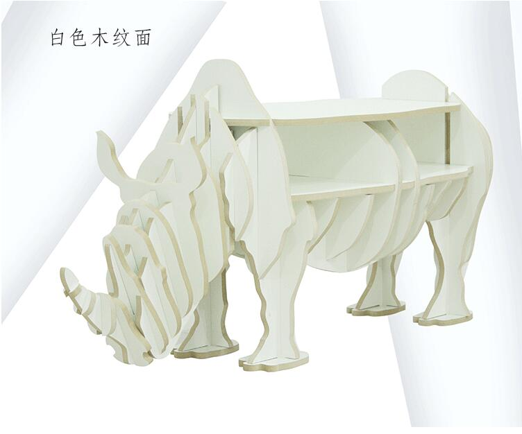 Assemble Wooden Rhinoceros Table Bookshelf Cabinet House Furniture Table Basse Coffee Table Muebles Rhino Statue Tables