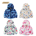 Autumn Kids Jackets Children Outerwear&Coats Baby Windbreaker Boys Girls Hooded Trench Jackets Cartoon Printed Fleece Child Coat