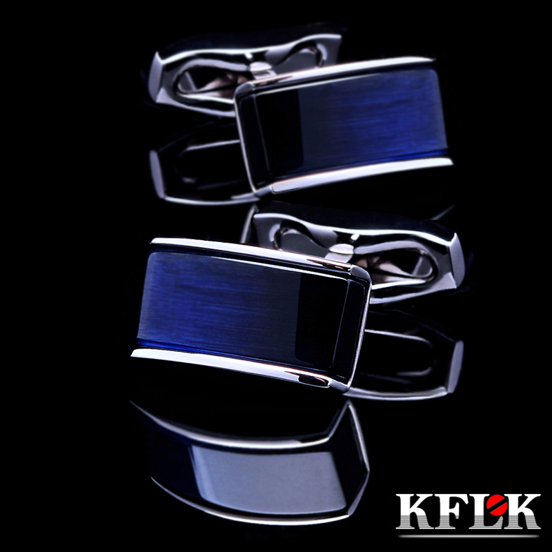 KFLK Jewelry Shirt Cufflinks For Mens Brand Buttons Cuff Links Blue Black Gradual Gemelos High Quality Abotoaduras Free Shipping