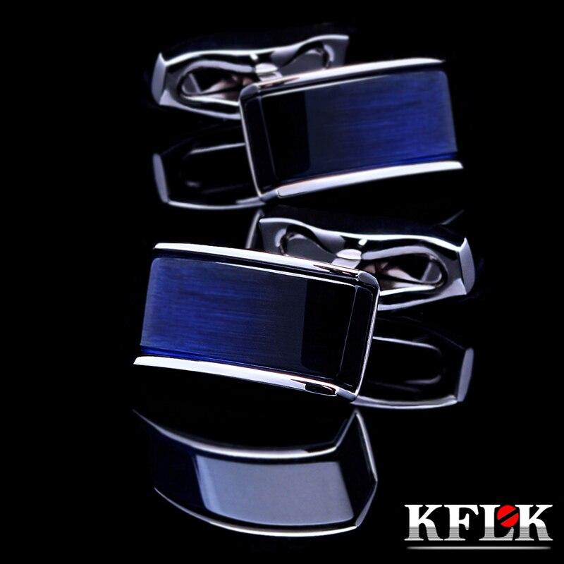 KFLK Jewelry shirt cufflinks for mens Brand buttons cuff links Blue black gradual gemelos High Quality abotoaduras Free Shipping