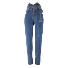 Simple Women Pencil Pants High Waist Zipper Fly Pocket Washed Denim Skinny Jeans for Lady trendy high waist front pocket design women s denim suspenders pants