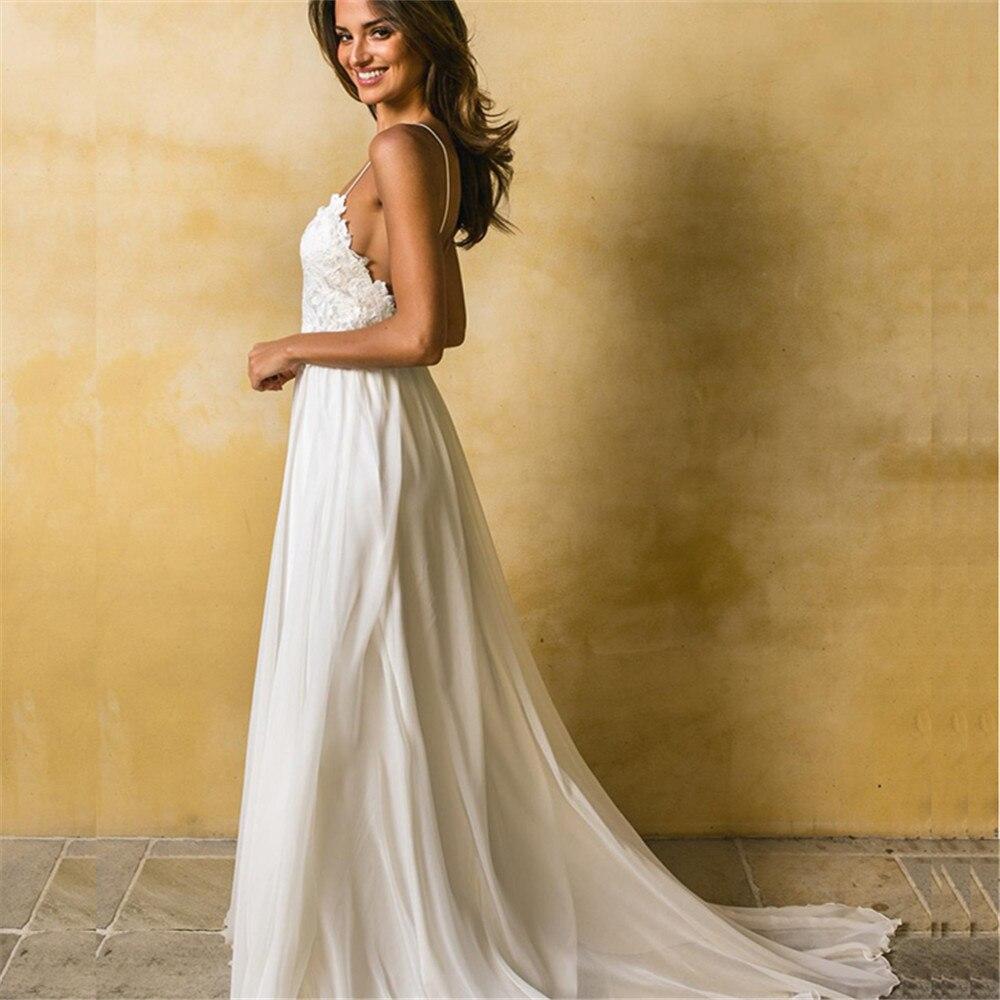 Beach Wedding Dresses Spaghetti Straps Robe De Soiree Vintage Lace Top Elegant Women Boho Chiffon Long Bridal Dress