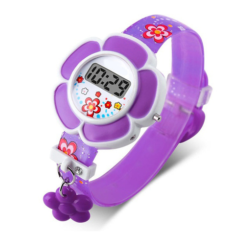 Lovely Flower Cute Boys Girls Kids Sport Watches Cartoon Children Watches Princess Silicone LED Digital Wrist Watches Party Gift Multan