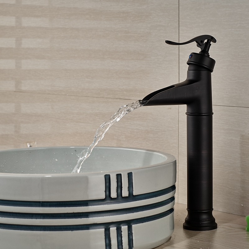Wholesale And Retail Promotion Luxury Oil Rubbed Bronze Waterfall Spout Bathroom Faucet Single Handle Hole Sink Mixer Tap wholesale and retail oil rubbed bronze waterfall spout bathroom faucet sink mixer tap