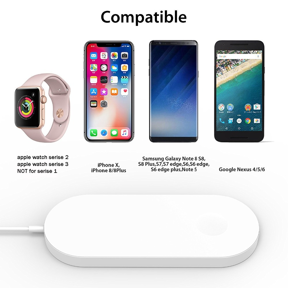 Airpower For iWatch 2 3 QI Wireless Charger For iPhone X 8 8plus Quick Fast Charging Pad For Apple Watch Sumsang S9 S8 S7 S6 9