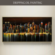 Skilled Artist Hand-painted High Quality Abstract Urban Skyscraper Oil Painting on Canvas New York Night