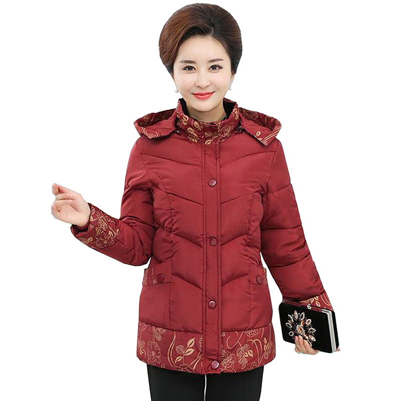 Women jacket 2017 new middle elderly women cotton coat winter mother clothing print thick wadded jacket Hooded plus size Outwear 2017 winter women plus size in the elderly mother loaded cotton coat jacket casual thickening warm cotton jacket coat women 328