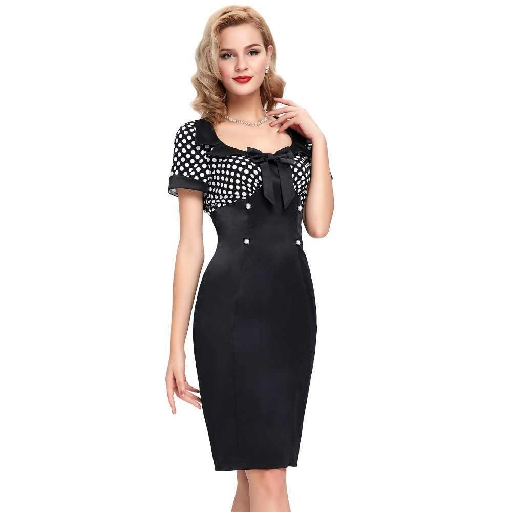 39deb9a889 2016 Retro Summer Dresses Women Pencil Bodycon Dress 50s Vintage Dresses  Sexy V-neck Short Sleeve Bow Polka Dot Short Lady Dress