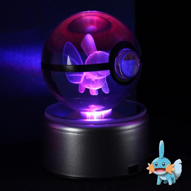 mudkip 3d crystal ball pokemon go lamp desktop decoration glass ball