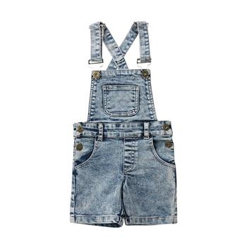 Fashion Toddler Kids Baby Boys Girls Denim Bib Pants Overalls Jean Outfits Sleeveless Denim Shorts Jumpsuit Outfits Summer 1