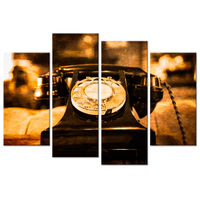 4 Panel Canvas Prints Wall Art Vintage Dial Telephone on the Table Detail View Retro Style Wall Hangings Giclee Print Home Decor