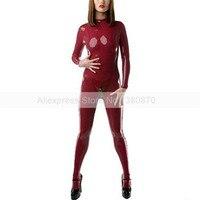 Сексуальный латекс с носки прилагается темно красный женский резиновая боди Зентаи общая S LC004