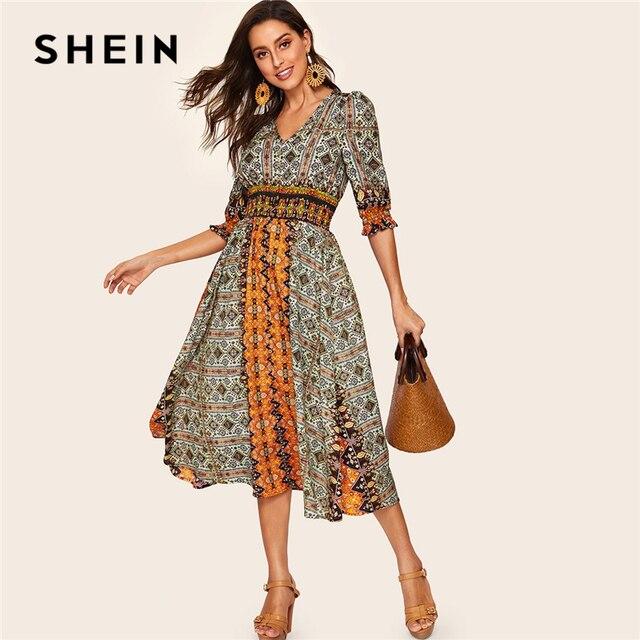 18426a0eae SHEIN Tribal Print Shirred Detail Dress Women Bohemian V Neck Puff Sleeve  Half Sleeve High Waist Spring Autumn Dresses
