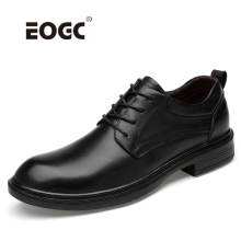 Spring Autumn Genuine Leather Men Oxfords Shoes Black Flats Designer Business Dress Dropshipping