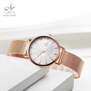 Image 4 - Shengke Quartz Horloge Vrouwen Mesh Rvs Horlogeband Casual Horloge Japan Beweging Bayan Kol Saati Reloj Mujer 2020
