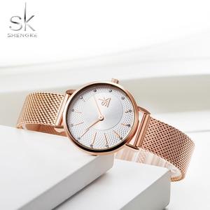 Image 4 - Shengke Quarzuhr Frauen Mesh Edelstahl Armband Beiläufige Armbanduhr Japan Bewegung Bajan Kol Saati Reloj Mujer 2020