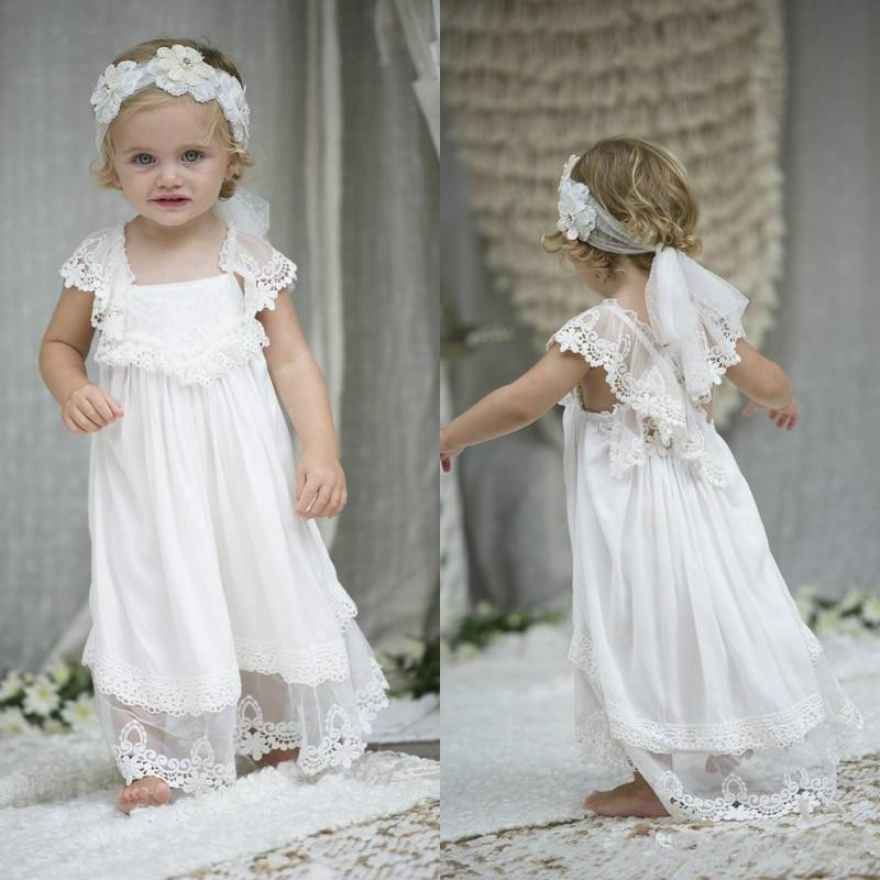 2019 New Long Chiffon   Flower     Girl     Dress   with Lace Appliques Cute   Girls   Pageant Gowns Unique Formal Wears Custom Made Vestidos