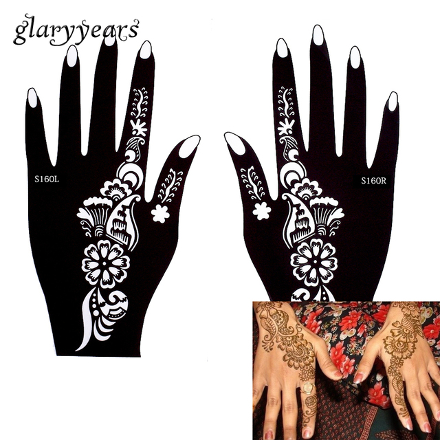 81fc51777 glaryyears 196 Designs 1 Pair Indian Mehndi Left Right Hands Henna Stencil  Hollow Tattoo Template for