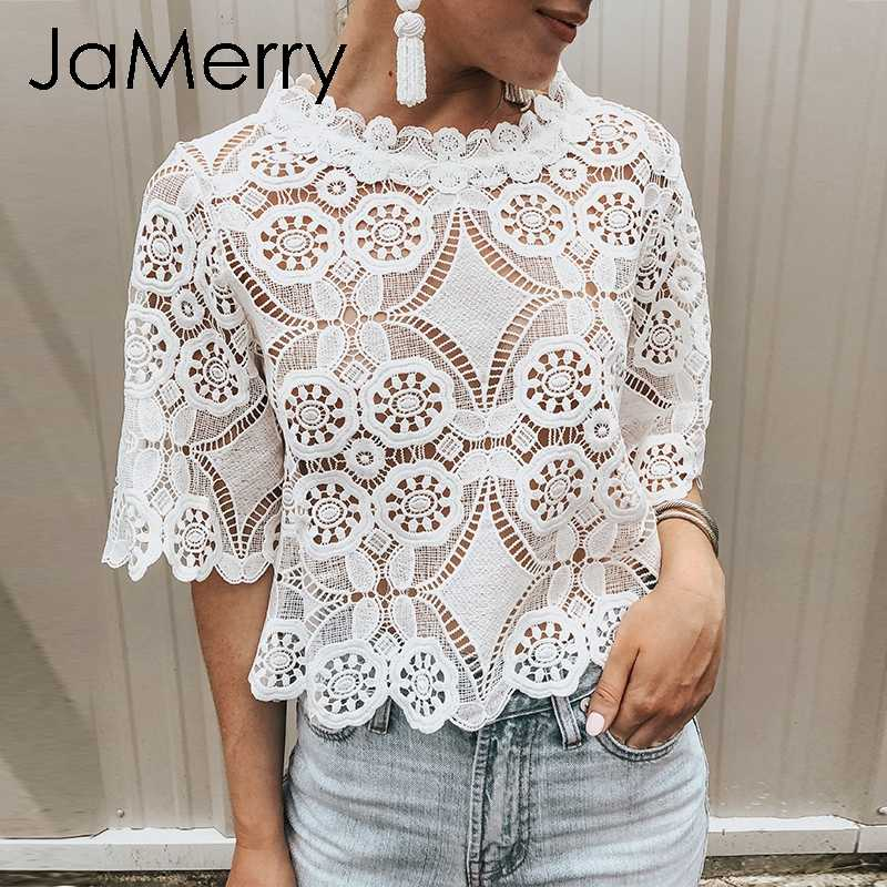 JaMerry Vintage white lace mesh embroidery women blouse shirt Sexy hollow out ruffled female top shirt Spring summer party tops
