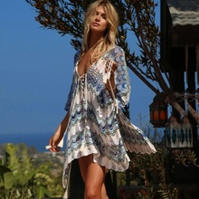 Beach Cover Up Bikini Crochet Knitted Tassel Tie Beachwear Summer Swimsuit Cover Up Sexy See-through Beach Dress