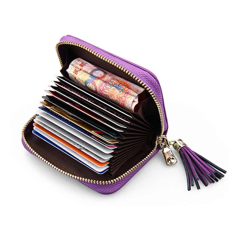 Милый кошелек из коровьей кожи высокого качества Женский кошелек с кисточкой кулон анти-магнитная карта RFID набор органная леди маленький держатель карточек кошелек