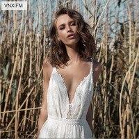 VNXIFM 2019Lace Boho Wedding Dresses Spaghetti Straps V Neck Wedding Gowns Beach Bride Dress Vestido De Noiva Bridal Gown