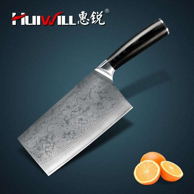 HUIWILL brand luxury damascus kitchen knives Japanese VG10 carbon steel kitchen chef cleaver/chopper knife with micarta handle