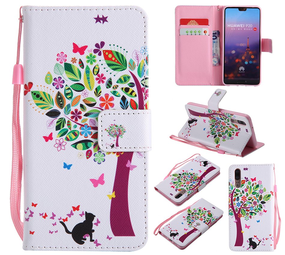 Flip PU Leather Wallet Cover Case For Huawei P20 P smart P9 P8 Lite 2017 P10 Plus Mate 9 10 X Honor 9i 5X Nova 2i 3E Cases B128