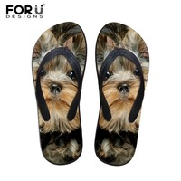 FORUDESIGNS Cute 3D Pet Cat Dog Terrier Printed Women S Sandals Breathable Rubber Slippers Women House