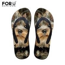 Forudesigns Мода 2017 г. Лето Пляжные сланцы женские тапочки милые 3D Кошка Собака терьер печатные сандалии Женская обувь на плоской подошве