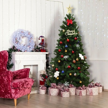 Goplus 6Ft PVC Artificial Christmas Tree Encryption Premium Hinged w/ Metal Stand Green Christmas Decoration CM21245